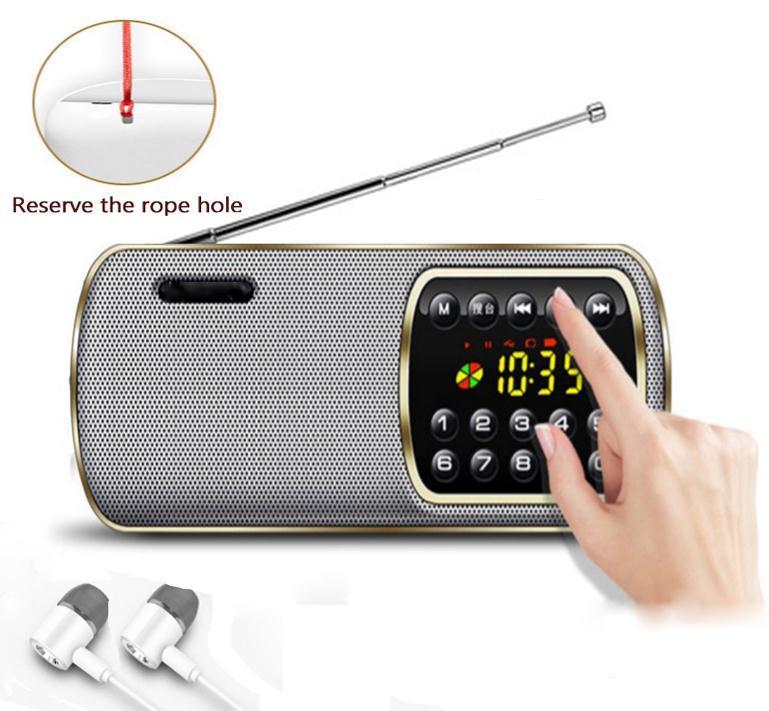 Mini Rádio Portátil Digital Portátil FM TF USB MP3 Player LED Speaker Display Time aparelho de rádio lanterna para Idosos a pessoa do idoso