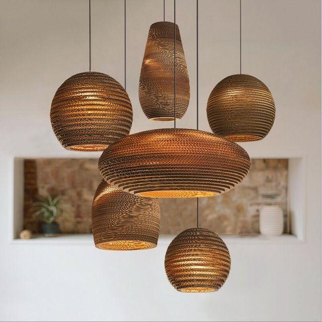 Papel de bambu favo de mel bambu luzes de pingente personalizado sala de estar restaurante café loja de roupas de papel lâmpadas pingente de papel