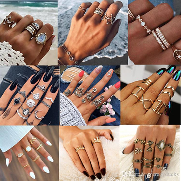 20 Fashion Styles Alloy Vintage Ring Boho Variety Ladies Ring Multi-element Combination Rings for women female Party Jewelry 2019