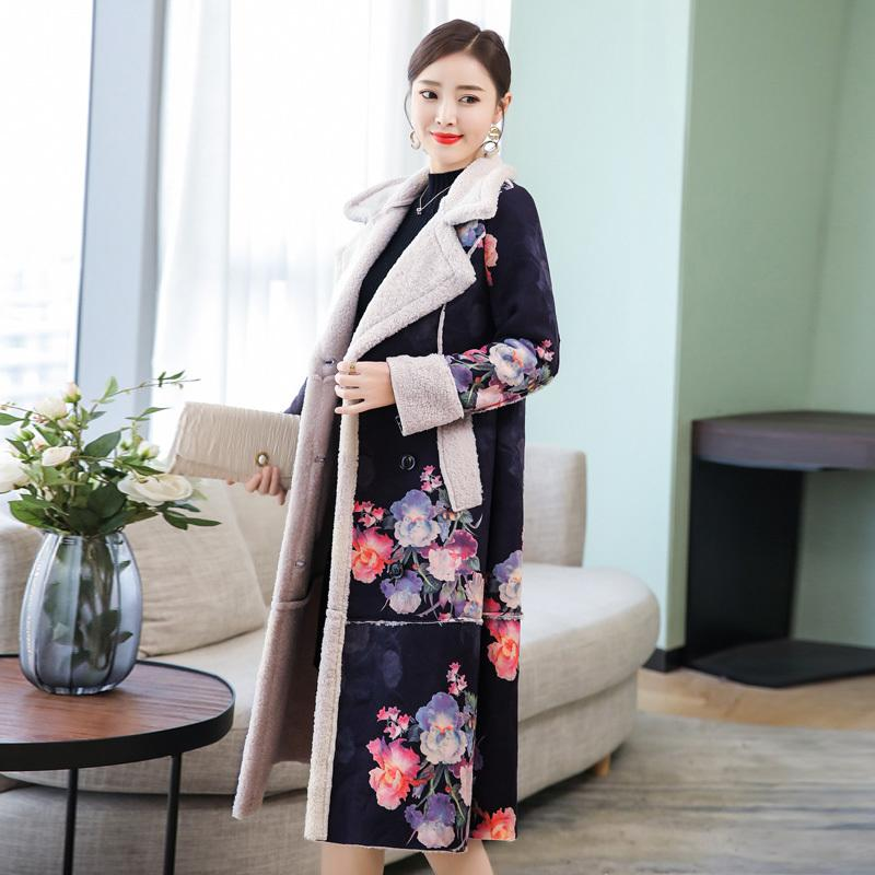 Red Wool long coat women winter coats clothes Plus size large warm thick parka jacket floral elegant vintage female high quality