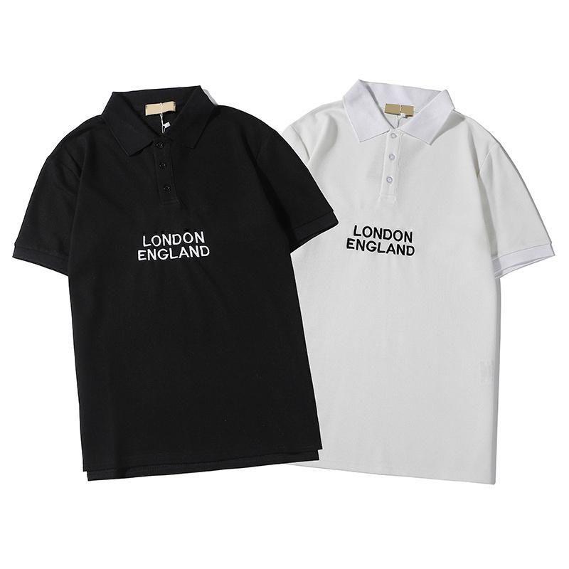 Brand Men Polos Модельер Luxury Letters лето Англия Стиль Короткие рукава Poloshirt 2020 Новое прибытие Tops высокого качества