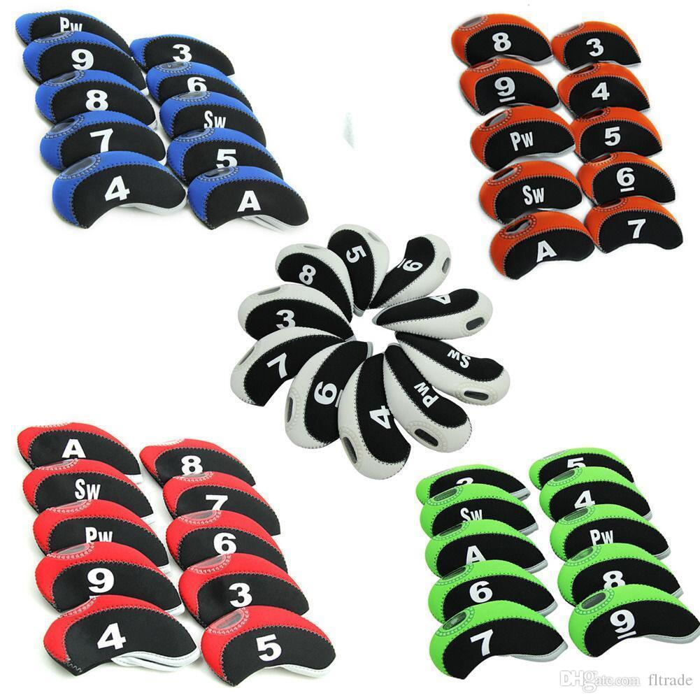 Number Tag Golf Club & Wedge Iron Head Covers Headcovers Protector Case with Window Display,Neoprene Material 10 Pack,6 Colors to Choose