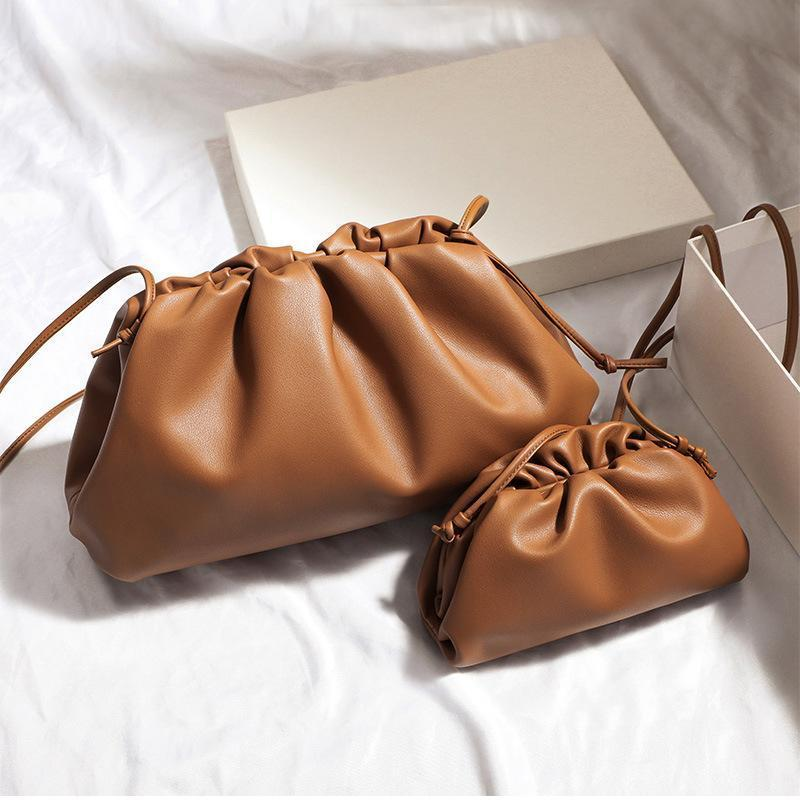 38cm Big Leather Pouch Handbag Women Soft High Quality Fashion Clutch Bag Lady Large Ruched Cloud Shoulder Bag