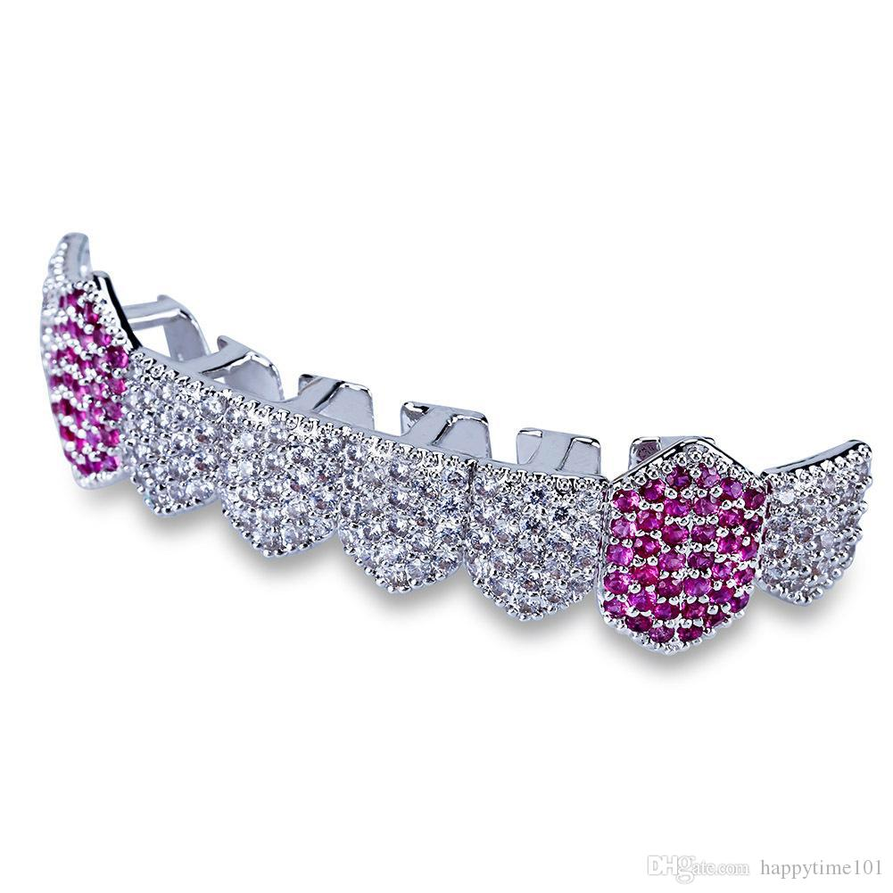 Griglie hip hop Griglie d'argento oro Iced Out Micro Pavy PAVE Full CZ Denti Grillz Griglie in basso Fascino per gli uomini