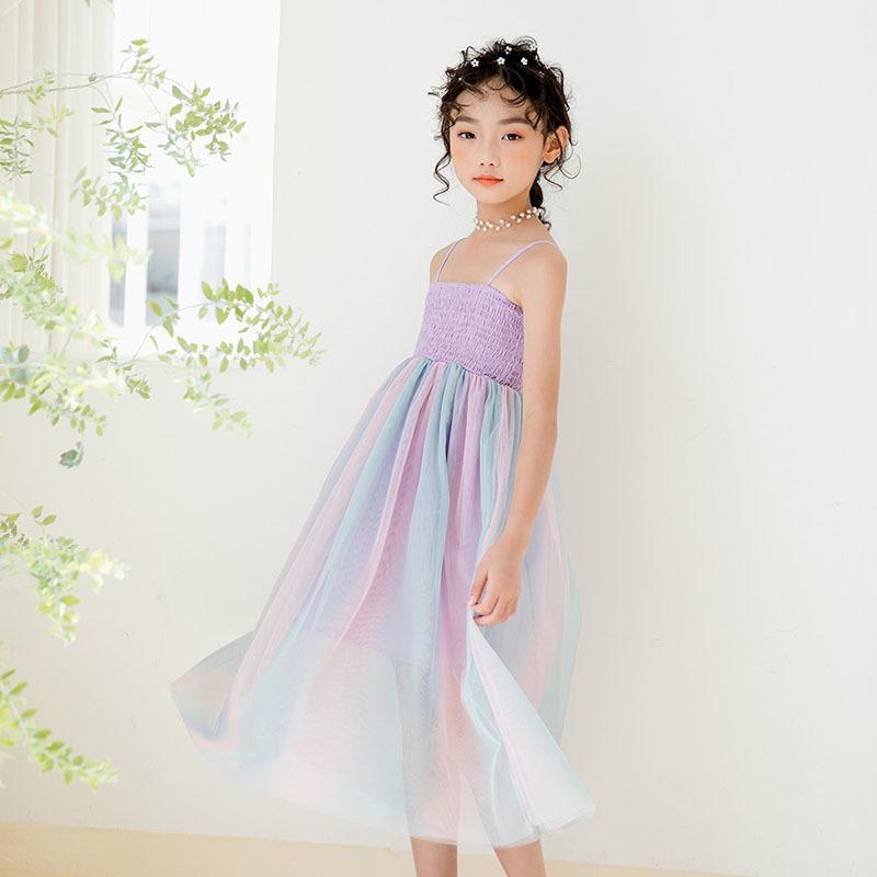 Neue 2020 Bunte Mesh Patchwork Kleider Teenager Mädchen Kleidung 6 8 10 Jahre Kinder Sleeveless Sommerkleid Kleinkind Kleidung T200417