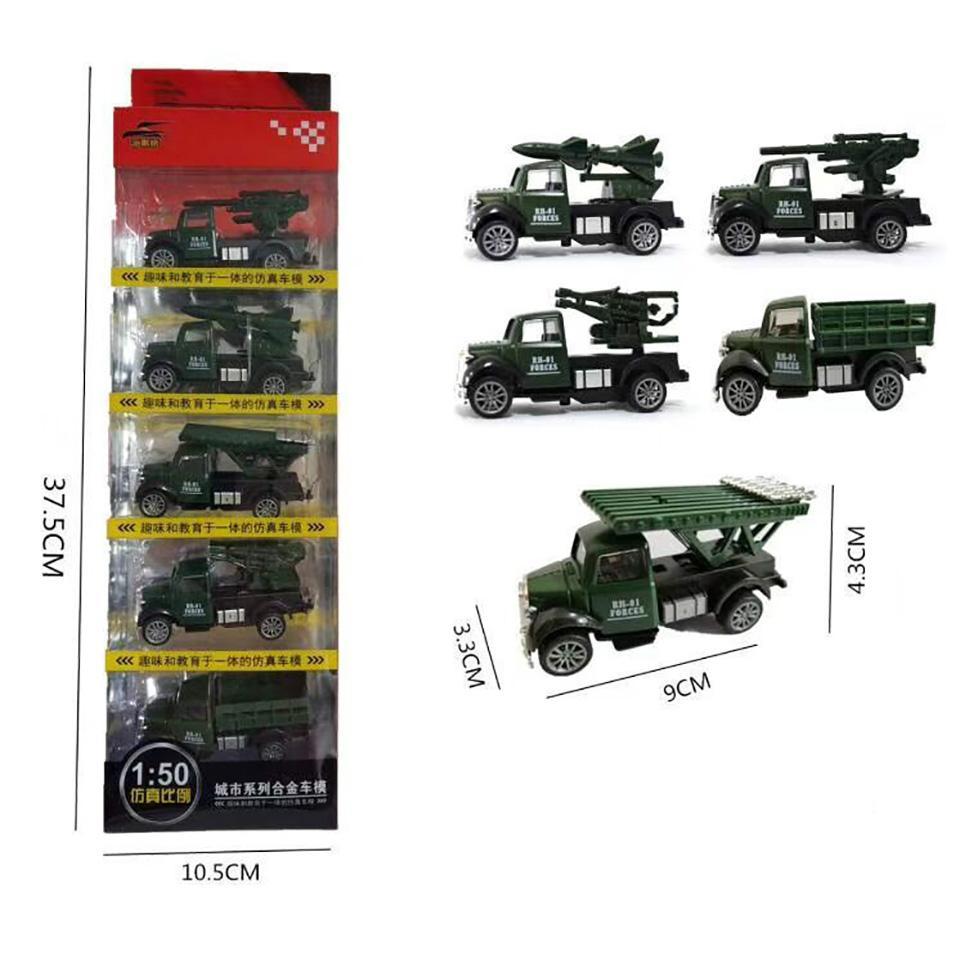 Cartoon Inertial Alloy Simulation Engineering Vehicle Truck Excavator Fire Truck Toy Model Set Decoration Boy Birthday Gifts