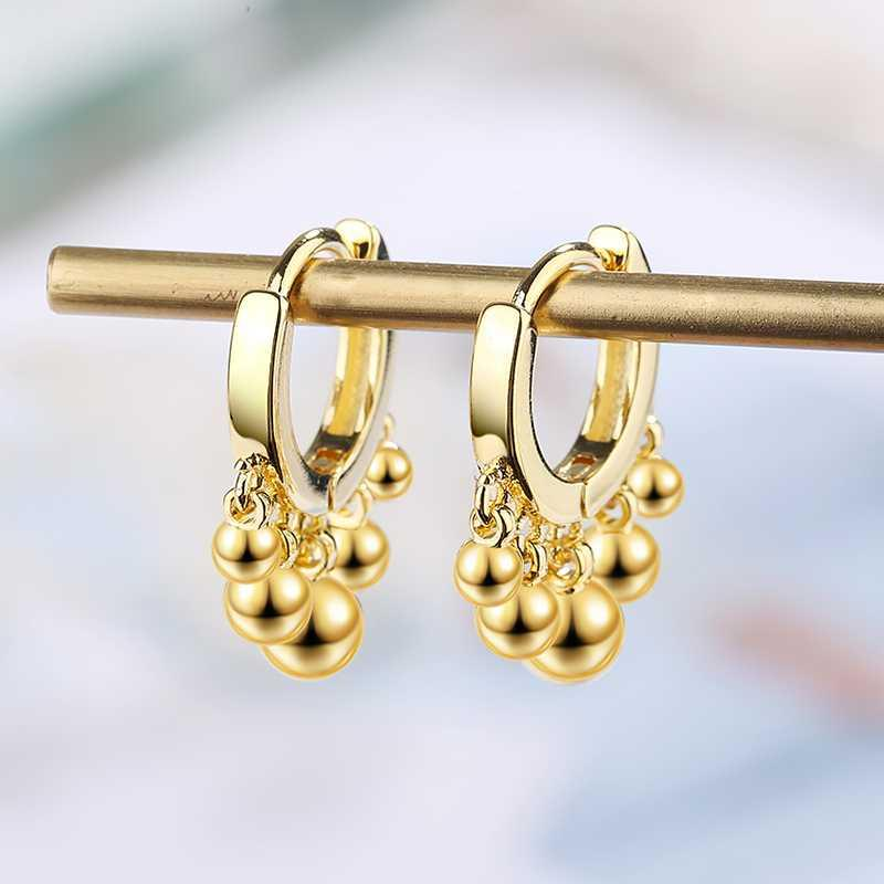 Regalos de la joyería de plata del color oro pendientes del lazo Huggie linda Pequeña bolas de plata colgante de la mujer Pequeño aro pendientes de la manera de las mujeres
