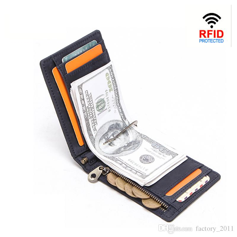 Men RFID Genuine Leather Money Clip Card Wallet Crazy Horse Wallets Thin Bifold Cash Holder Male Slim Small Purse with Top Quality 1020