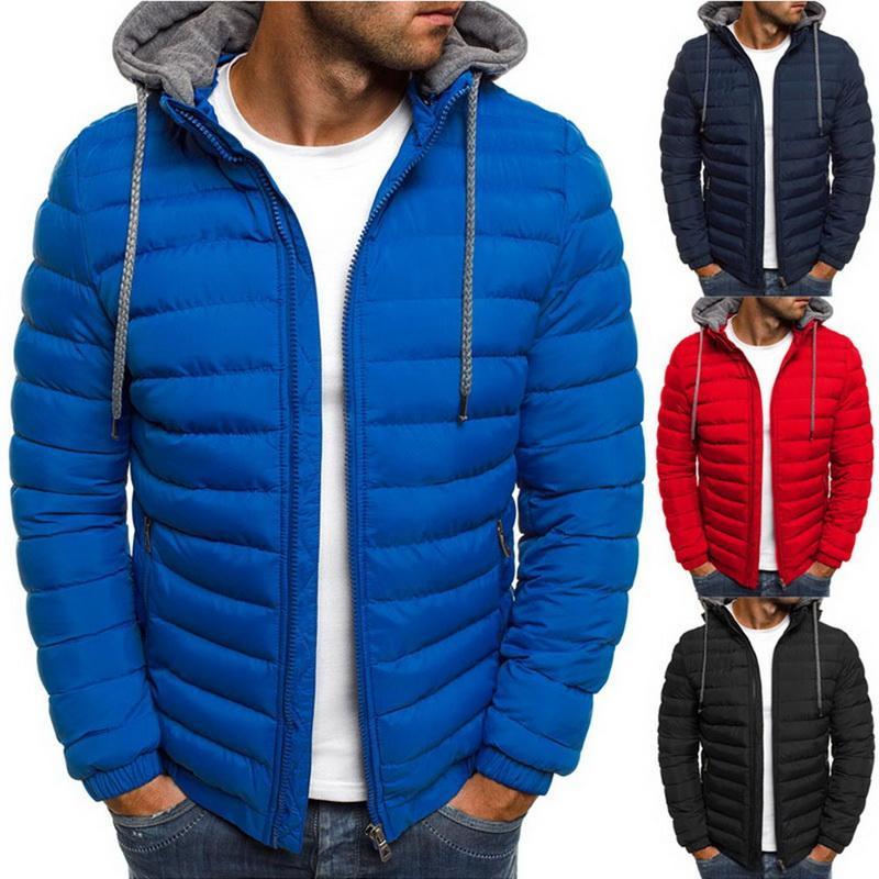 HEFLASHOR Осень Зима мужская легкая теплая зима толстовки куртка пальто полосатый сплошной карман на молнии парки мужчины 2019 одежда
