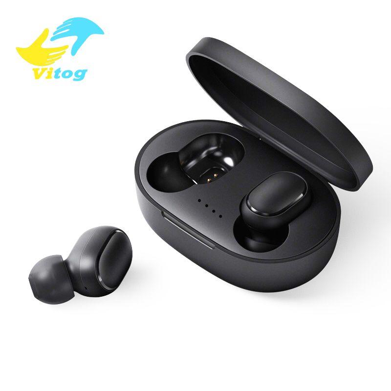 Tüm Akıllı Telefon mikrofonlu Vitog Bluetooth Kulaklık TWS A6S Kulaklık Bluetooth 5.0 Kablosuz Kulaklık Hayat Su geçirmez Bluetooth Kulaklık