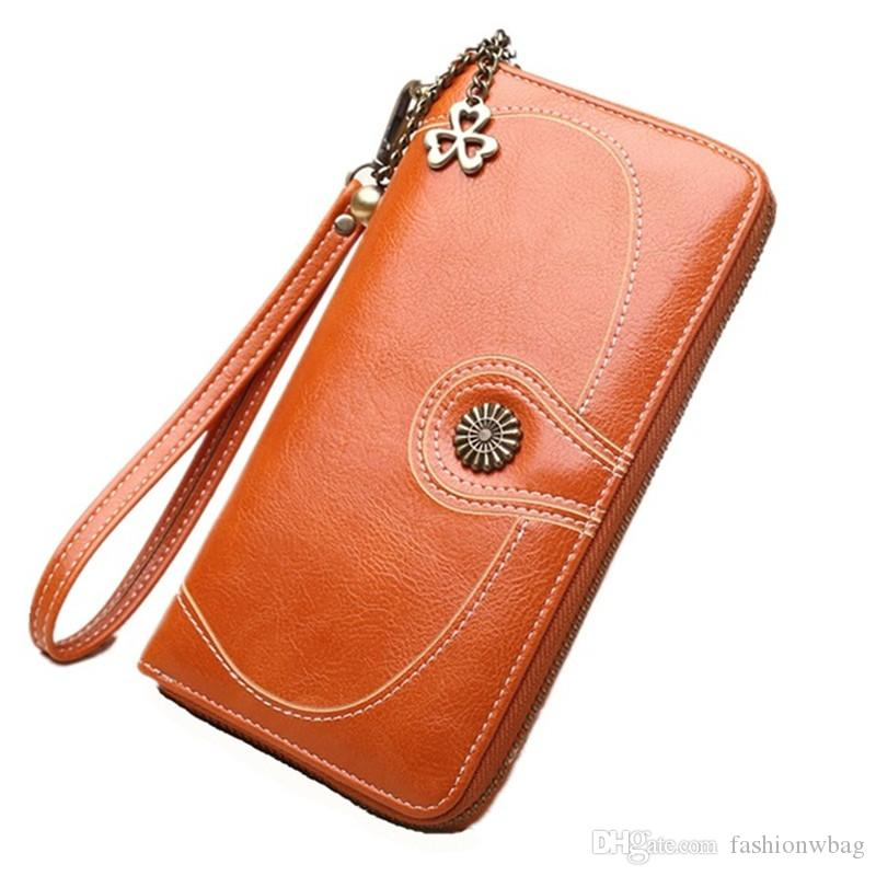 Best selling óleo carteira de couro de cera por atacado saco de moedas das mulheres retro óleo da pele saco do telefone longo zipper saco de embreagem