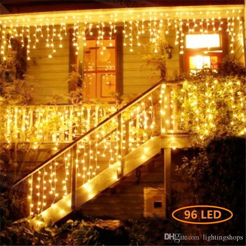 Vorhang Eiszapfen Led Lichterketten Weihnachtsbeleuchtung Outdoor Dekoration 220V 4M Droop 0.4-0.5-0.6m Lichterketten für Traufe, Garten, Balkon