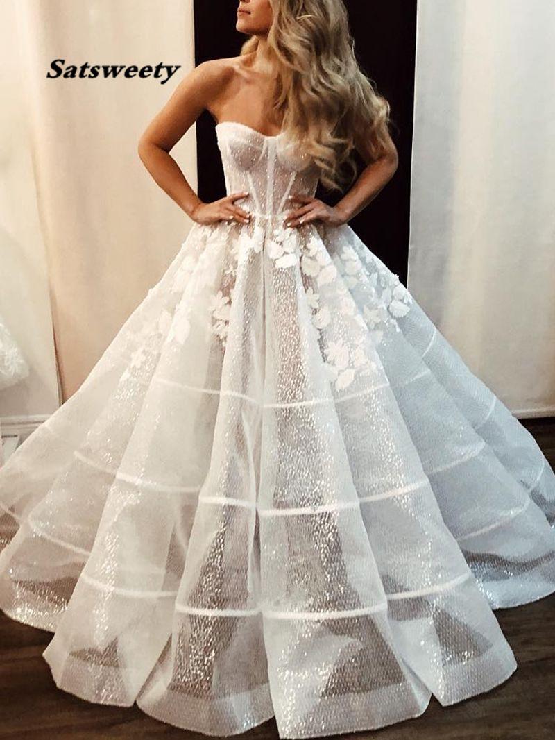 Lace Princess Wedding Dress shiny Tulle Party Bridal Gown Backless vestido de noiva Arabic mariee