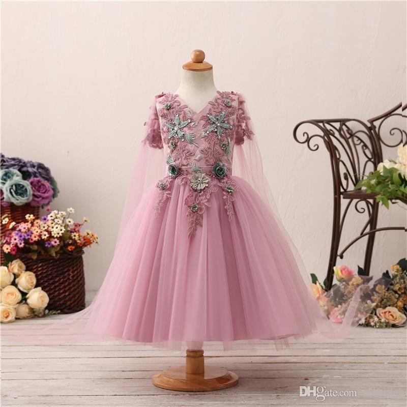 Flower Girls Dresses With Wraps 2018 New Sleeveless Lace Jewel Neck Kids Girls Dress For Party Dress Custom Made