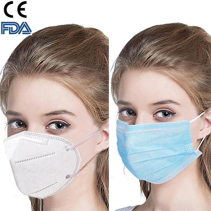 CE FDA Certificate Top Quality KN95 Disposable Face Masks Thick 3-Layer Masks with Earloops for Salon, Home Use Comfortable in stock Mask