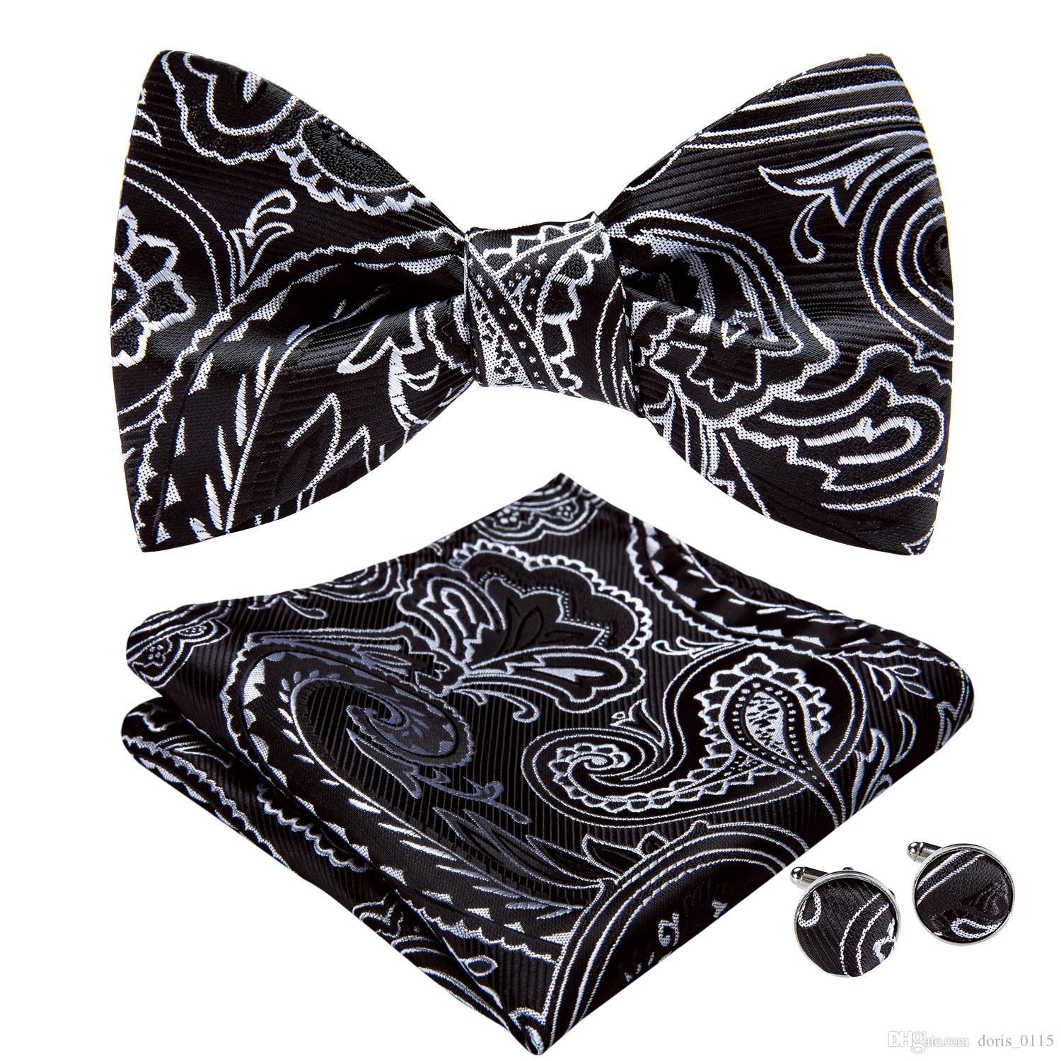 Hi-Tie High Quality Men's Bow Tie Black Floral Wedding With Handkerchief Cufflinks For Mens Wedding Business Party AL-076