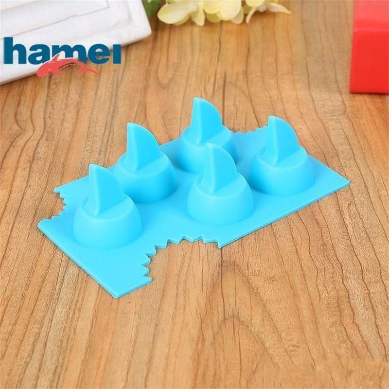 Силиконовый Льдогенератор Пресс-форма для пищевых продуктов Ices Cube Tray Мультфильм Shark Fins Формы торт Шоколад для выпечки Формы для выпечки 2 5hm II