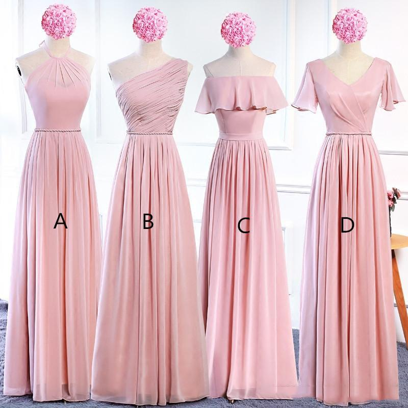 2021 Chiffon Long Bridesmaid Dresses with 4 styles Lace Up Bohemian Bridesmaid Dress Floor Length Wedding Guest Dresses