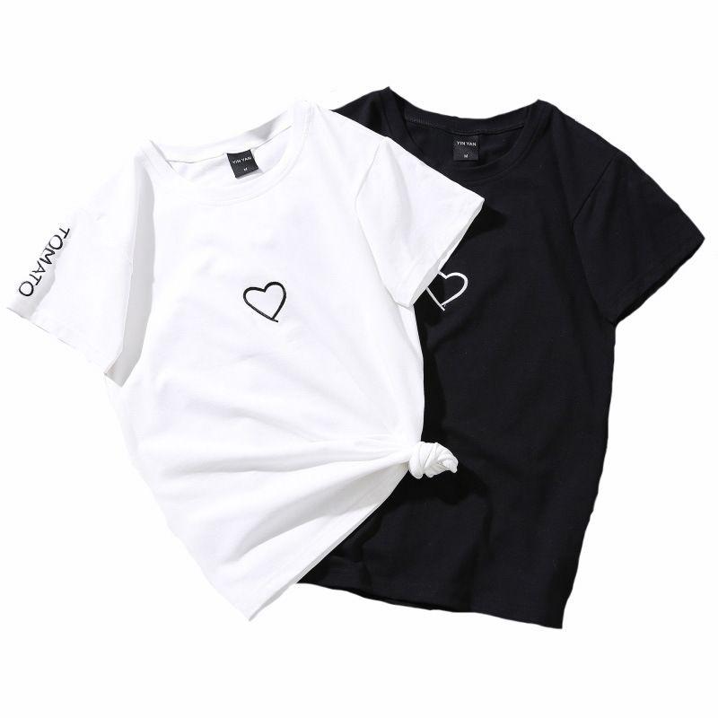 Parejas Septhydrogen la marca del verano de los amantes de la camiseta de la Mujer Blanco ocasional Tops camiseta Camiseta de las mujeres del amor del corazón bordado camiseta de la impresión femenina