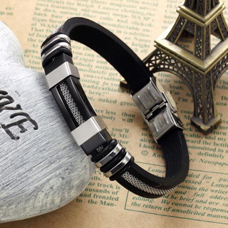 Wholesale-Bracelets Black Stainless Steel Silicone Bracelets Charm Bracelet Male Bangle For Men Jewelry Silver & Rose Gold Color