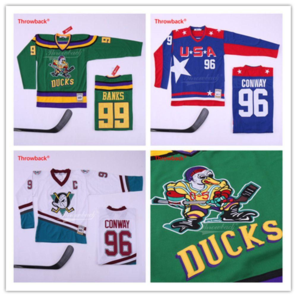 Charlie Conway # 96 Team USA Mighty Ducks 99 Adam Banks 33 Greg Goldberg Film Eishockey genähtes Alle Genäht