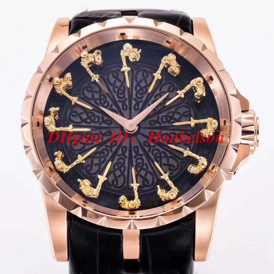 Orologio di lusso RDDBEX0511 acier inoxydable de haute qualité Table ronde 12 montres hommes cadran chevalier Mouvement automatique 2813 cuir