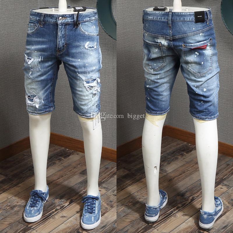 Stonewash Blue Bleached Shorts Painted Denim Shorts Sexy Fashion Short Jeans Man White Paint Splash Effect