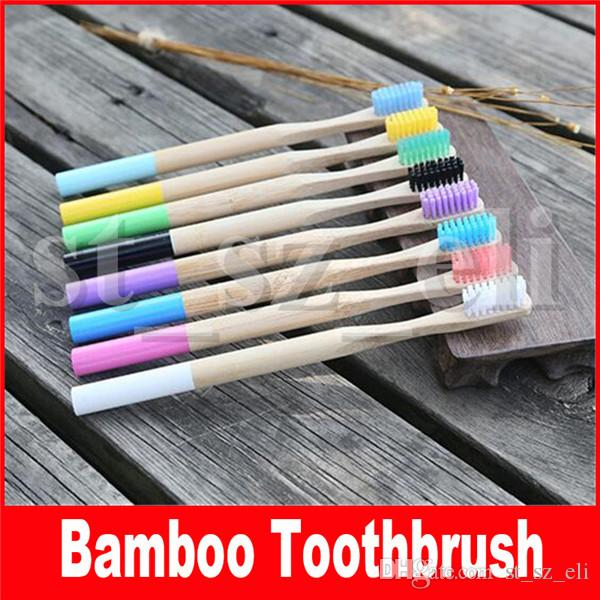 Natural Bamboo Toothbrush for Adults Wood Toothbrush Bamboo Soft Bristles Natural Eco Capitellum Bamboo Fibre Wooden Handle Multi Colors