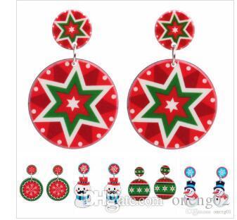 Creativo orecchini di Natale acrilico ORECCHINI Babbo Natale sveglio del pupazzo di neve bella Albero romantico regali gioielli orecchini di Natale