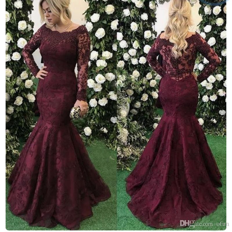 5eb34319b2 2019 Elegant Wine Red Lace Mermaid Prom Dresses Long Sleeves Floor Length Formal  Dresses Evening Gowns
