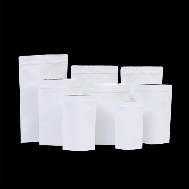 창없이 흰색 크래프트 종이 가방 잠금 습기 방지 스탠드 업 파우치 쿠키 식품 스낵 캔디 저장 드라이 허브 꽃 포장 우편 번호