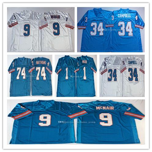 Billig NCAA Männer Öler Vintage Fußball 34 Earl Campbell 9 Steve McNair 74 Bruce Matthews 1 Warren Moon genäht Retro Blau Weiß Trikots