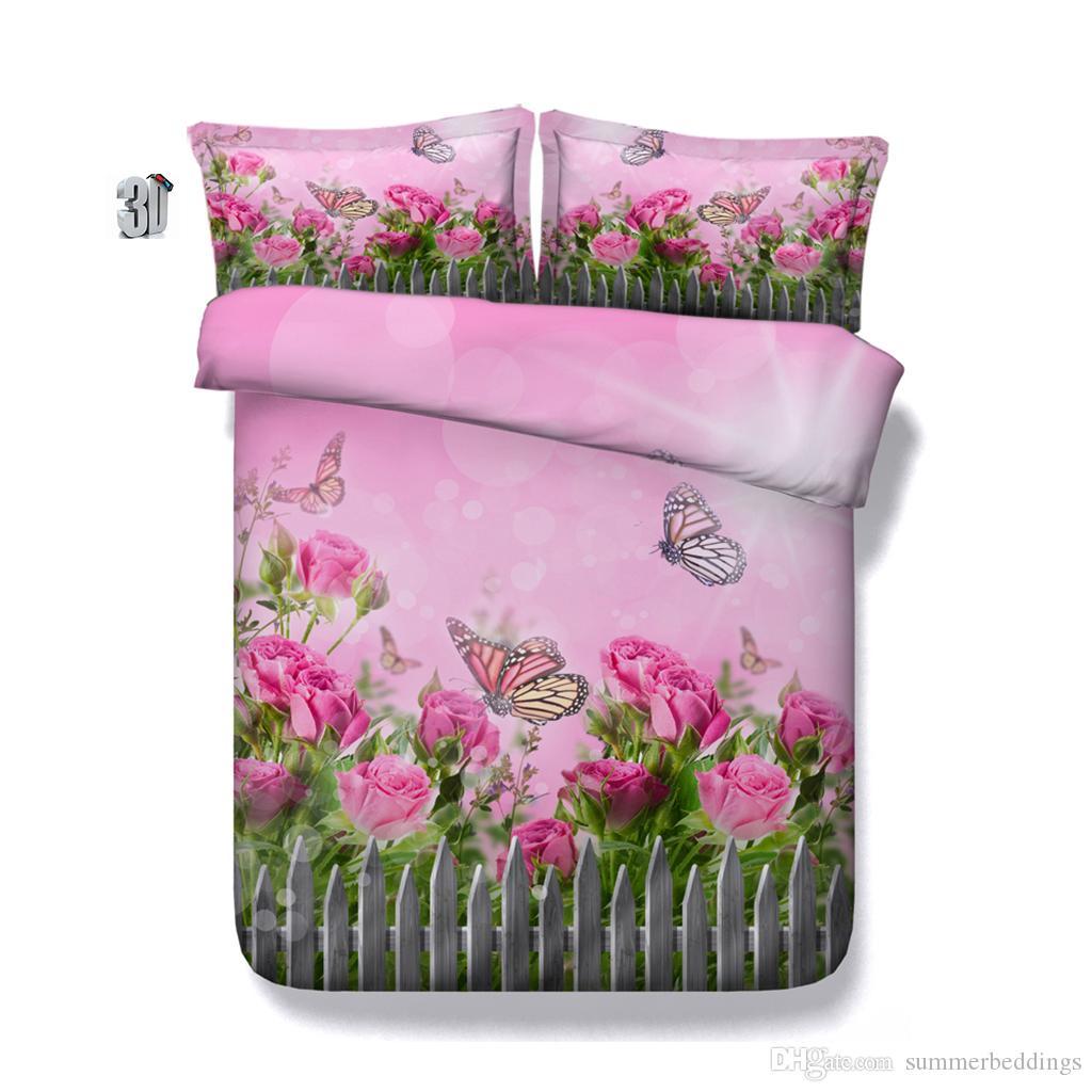 Galaxy 3D 150x200cm copripiumino set di biancheria da letto queen floreali Copertine copriletti vacanze Quilt Lenzuola federe farfalla rosa