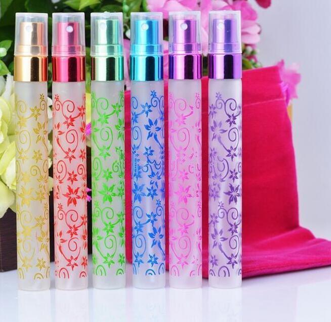 Unico stampa a più colori 10ml 6 colori mini atomizzatore di vetro dello spruzzo Bottiglie di profumo di viaggio Piccolo Vaporisateur Profumo