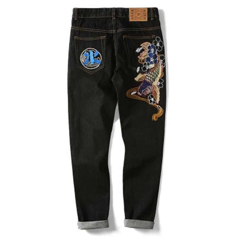 2019 novo estilo Chinês bordado reta calças maré retro dos homens marca jeans tendência jeans Bordados para homens moda