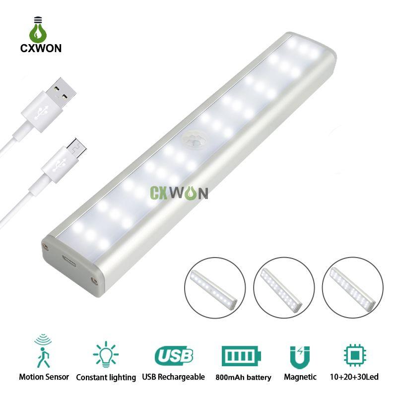 Cabinet Lights 30LEDs Brightness Dimmable Wireless Closet Light USB Rechargeable PIR Motion Sensor Wardrobe Kitchen LED Cabinet Light