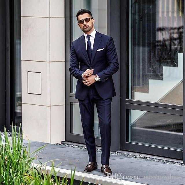 2019 Fashion Hochzeit Smokings Slim Fit Herrenanzüge Groomsmen Anzug Zwei Stücke Günstige Prom Formal Männer Blazer Suits (Jacket + Pants