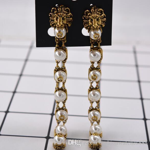 حار مصمم العلامة التجارية الأسد رئيس طويل مربط القرط المرأة لؤلؤة خمر القرط الشهيرة ماركة المجوهرات هدية للحب جودة عالية