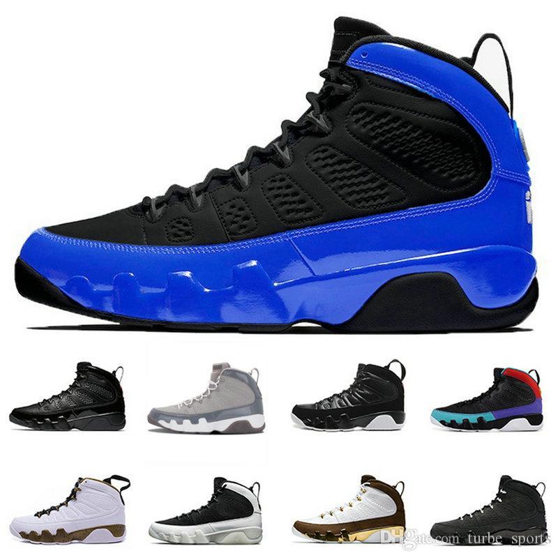 2019 Nouveaux 9s 9 hommes chaussures de basket-ball UNC LA Bred Space Jam tour des entraîneurs sportifs Anthracite bleu noir Designer Sneaker taille 7-13