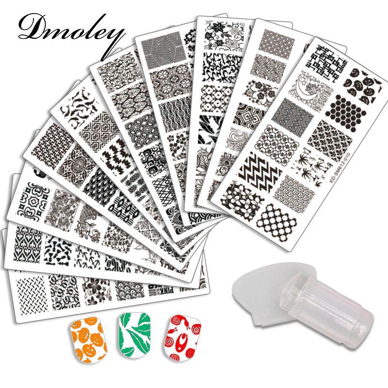 10Pcs/Lot Nail Stamping Plates Set Clear Stamper Scraper Nail Art Polish Stamp Plastic DIY Template Manicure Nail Tools Stencil