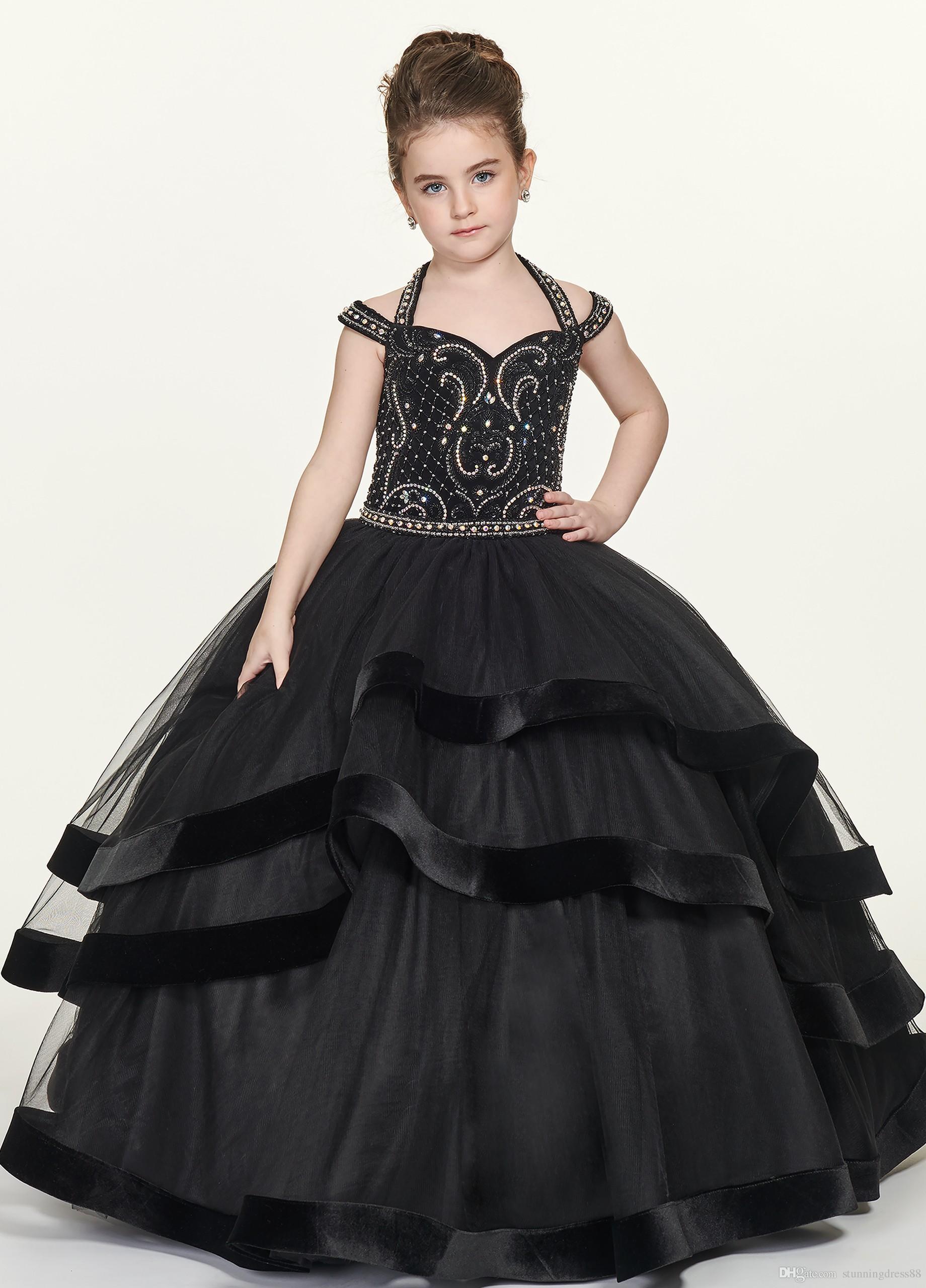 Compre Vestidos De Gala Negros Sexy 2019 Vestidos Para Niñas Vestidos Halter Diseñador De Hombros Fríos Con Impresionantes Cuentas De Cristal Tulle