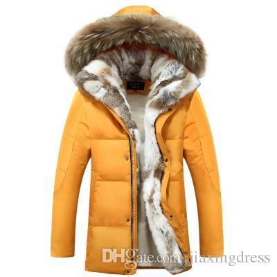 2020 nouvelle section des hommes de veste en duvet d'homme version coréenne du grand lapin épaississement pour les amoureux de la taille des hommes veste d'hiver fourrure