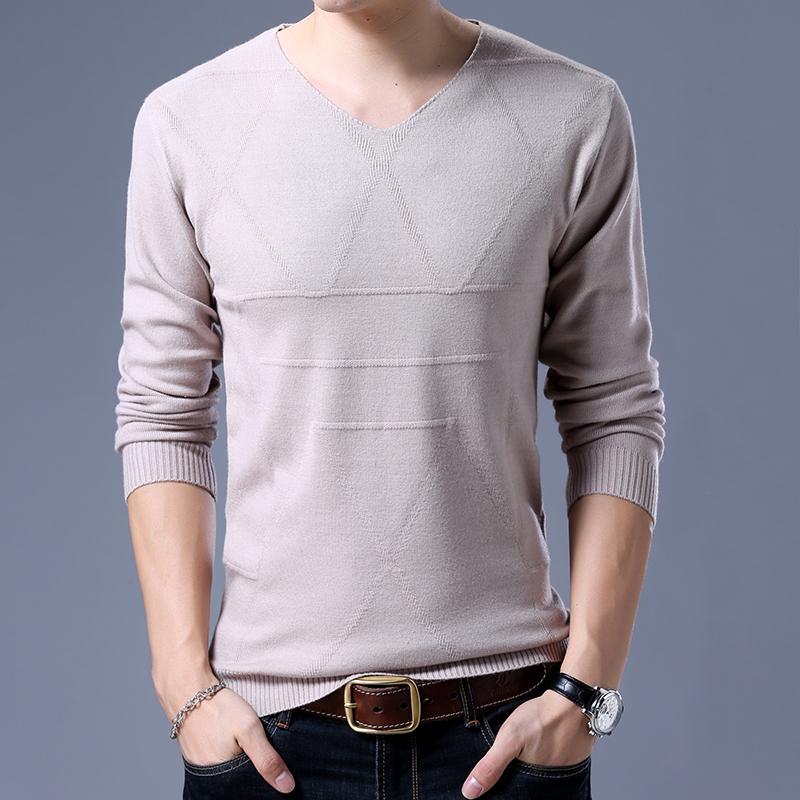 V cuello ocasional punto de los hombres 2018 otoño Nueva jersey Slim Fit delgada para hombre de los suéteres varón de alta calidad más el tamaño M-3XL