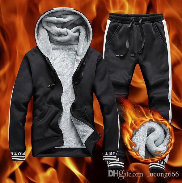 Mode neue 01 Pullover plus Samtanzug Winter Herren zweiteilige farblich abgestimmte Kapuze Slim Jugend Sportbekleidung