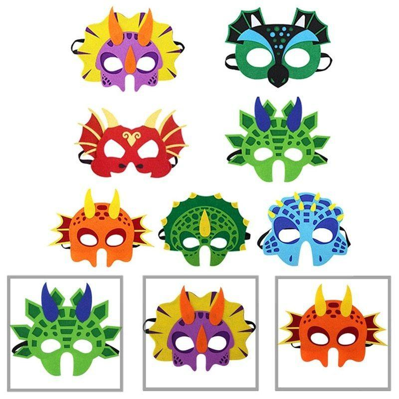 Dinosaur Mask Costume Cosplay Christmas Cartoon Gifts Kids Party Masks Felt Dinosaur Party Decoration