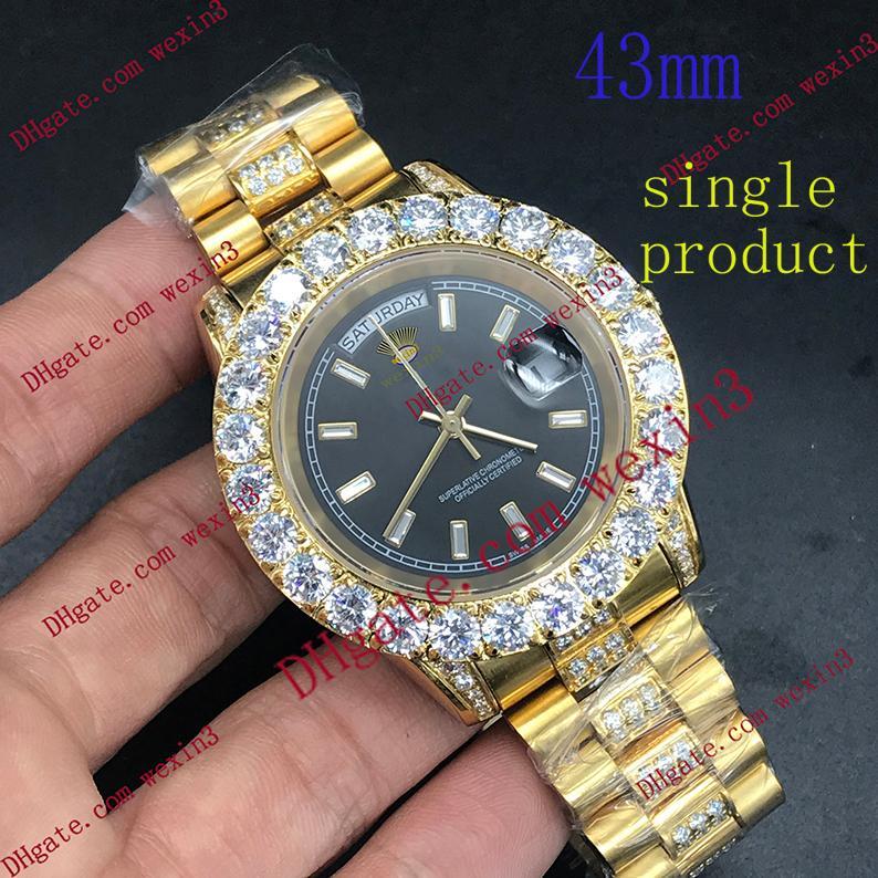 1 Color.Best qualità totale Big diamante della vigilanza degli uomini Giorno oro 18K Data Impermeabile Orologi di lusso in acciaio inossidabile 2813 Automatic 43mm