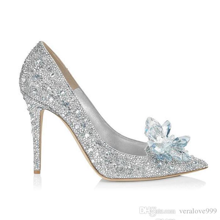 Cinderella Crystal Wedding Shoes High Heeled Women Stunning Glasses Bling Silver Rhinestone Bridal Wedding Shoes Women Prom Party Wear