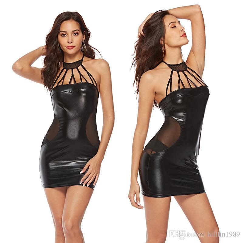 Black Fashion Street Style Dresses Sexy Sleeveless Patent Leather Night Party Dress Erotic Halter PVC Clubwear
