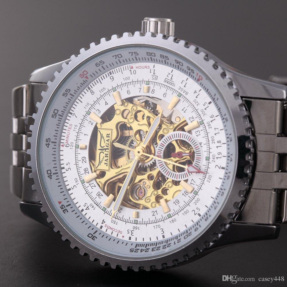 New Jaragar Relojes Watches Top Brand Mens Classic Stainless Steel Self Wind Skeleton Mechanical Watch Fashion Cross Wristwatch