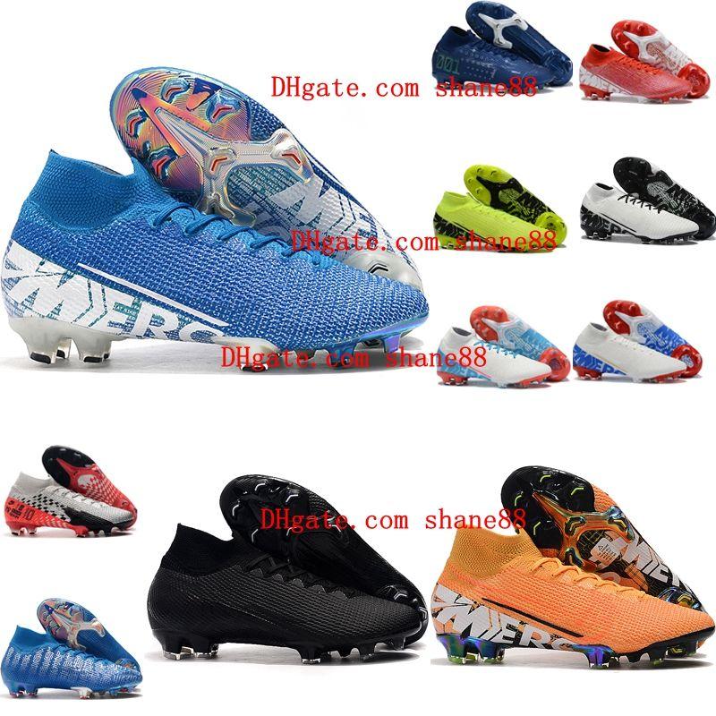 2019 erkek futbol Neymar yüksek ayak bileği Tacos de futbol futbol ayakkabıları ronaldo Mercurial Superfly 7 Elite NJR CR7 FG futbol ayakkabıları pervazları